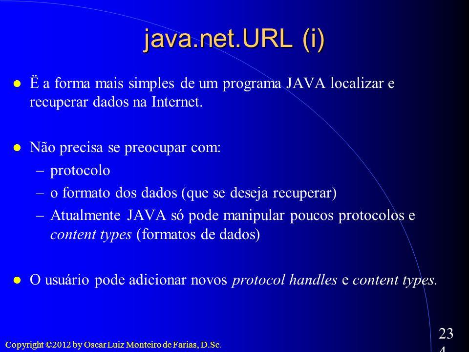 java.net.URL (i) Ë a forma mais simples de um programa JAVA localizar e recuperar dados na Internet.