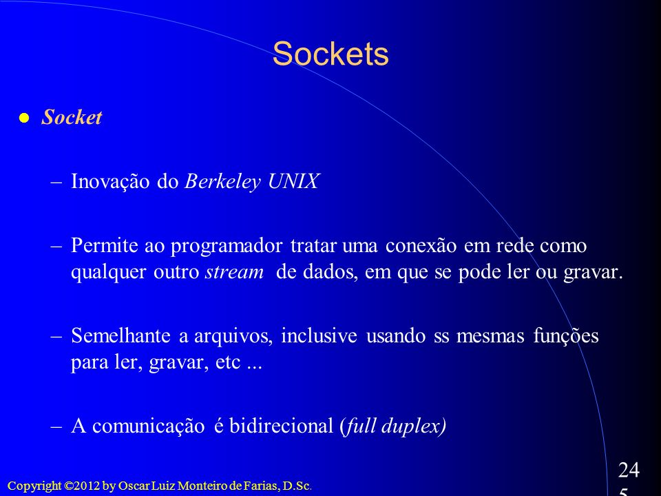 Sockets Socket Inovação do Berkeley UNIX