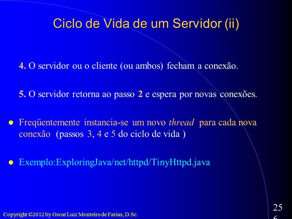 Ciclo de Vida de um Servidor (ii)