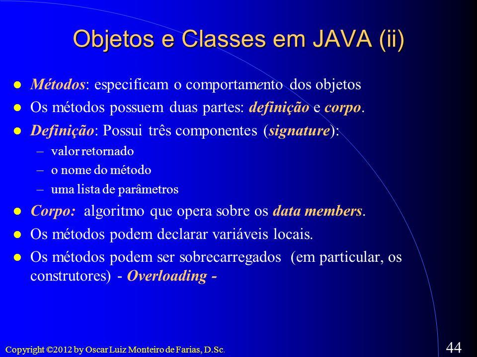 Objetos e Classes em JAVA (ii)