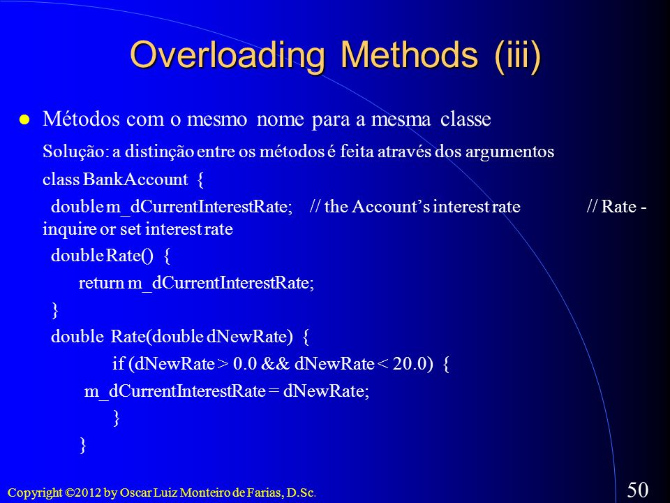 Overloading Methods (iii)‏