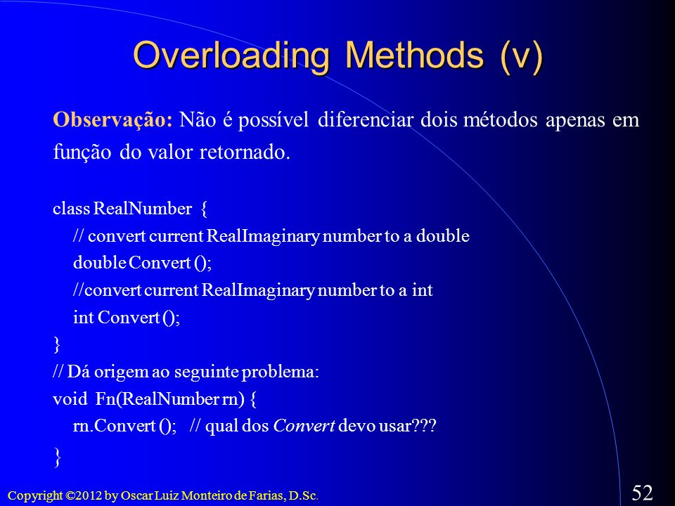 Overloading Methods (v)‏