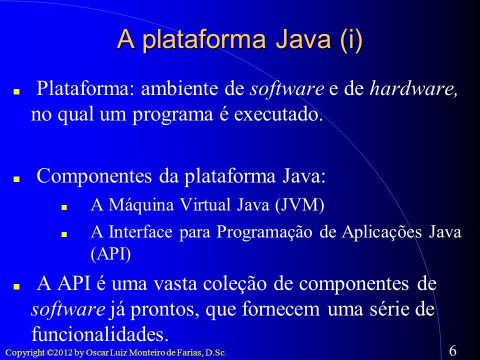 A plataforma Java (i)Plataforma: ambiente de software e de hardware, no qual um programa é executado.