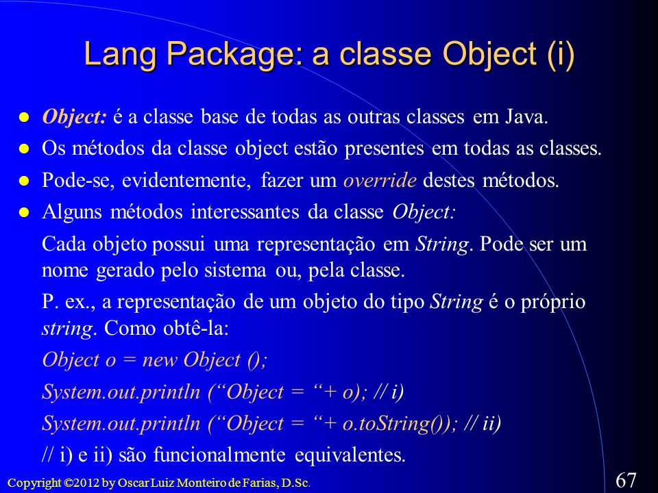 Lang Package: a classe Object (i)