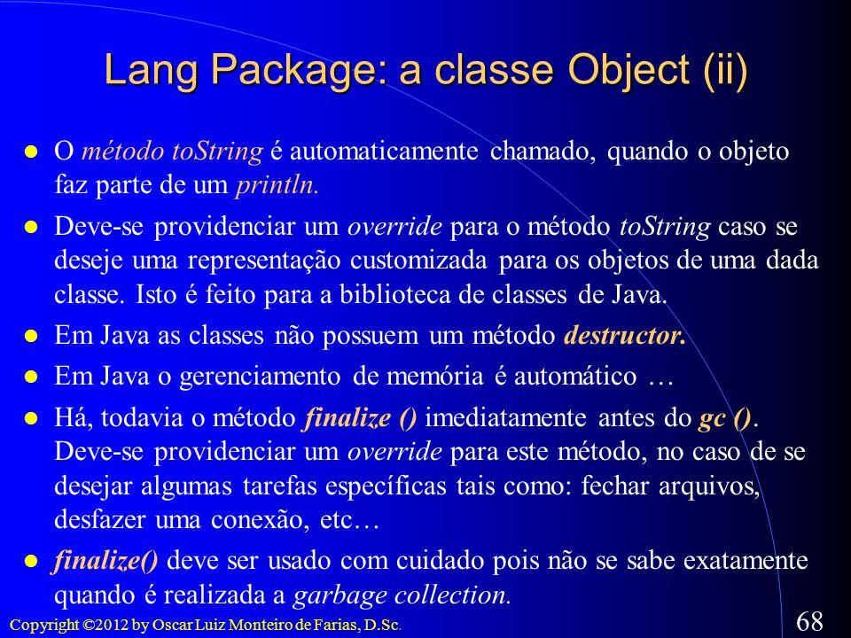 Lang Package: a classe Object (ii)
