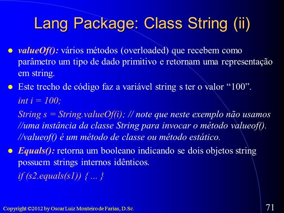 Lang Package: Class String (ii)