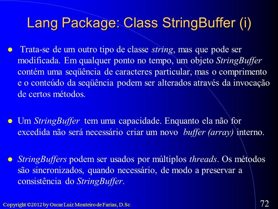 Lang Package: Class StringBuffer (i)