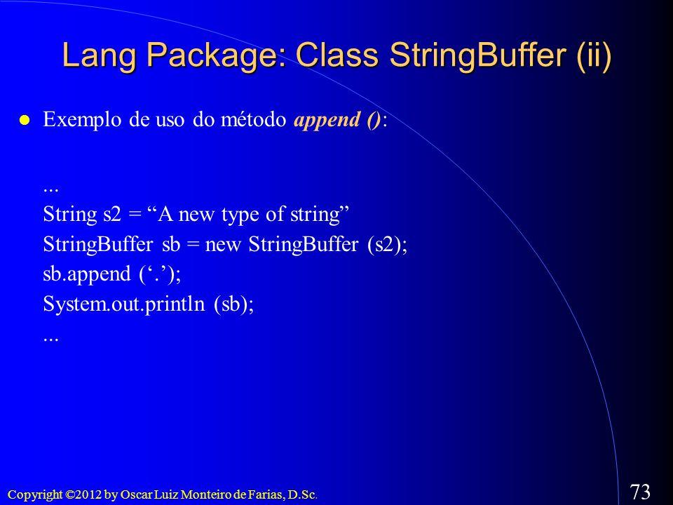 Lang Package: Class StringBuffer (ii)
