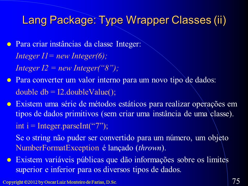 Lang Package: Type Wrapper Classes (ii)‏