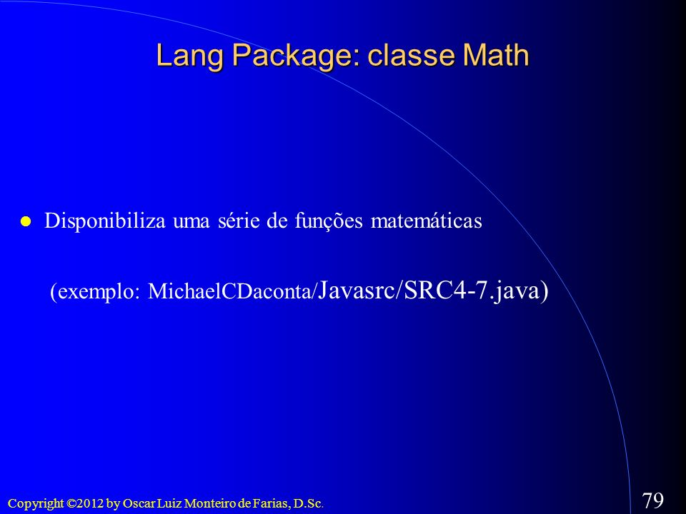 Lang Package: classe Math