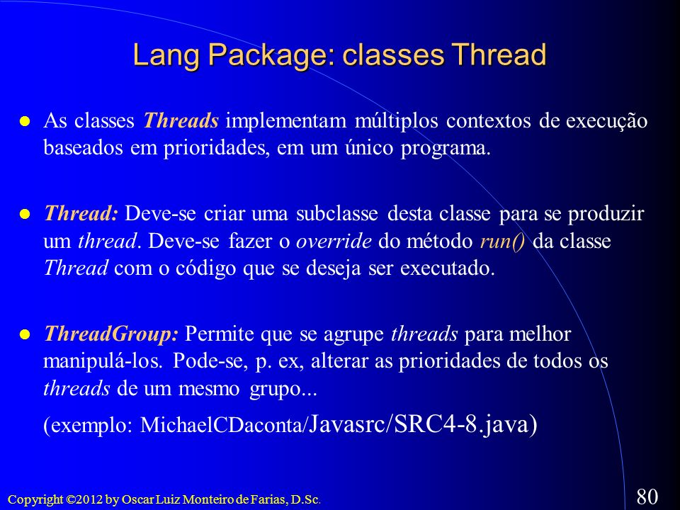 Lang Package: classes Thread