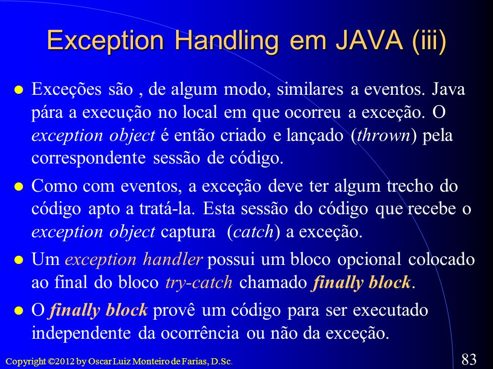 Exception Handling em JAVA (iii)‏