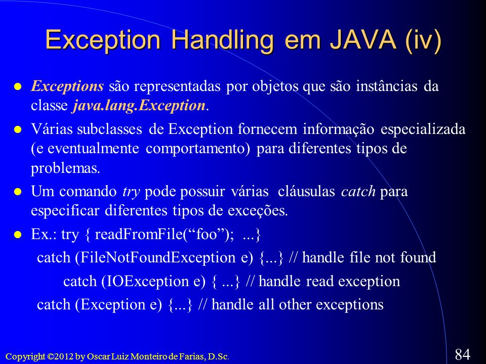 Exception Handling em JAVA (iv)‏