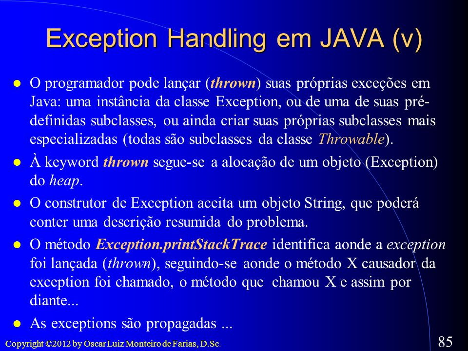 Exception Handling em JAVA (v)‏