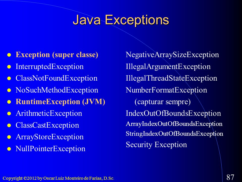 Java Exceptions Exception (super classe)‏ InterruptedException