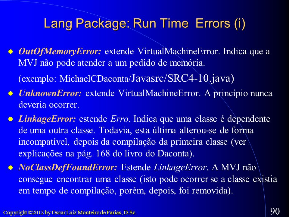 Lang Package: Run Time Errors (i)‏