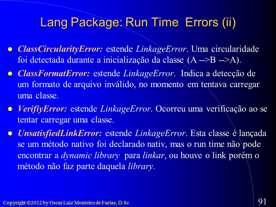 Lang Package: Run Time Errors (ii)‏