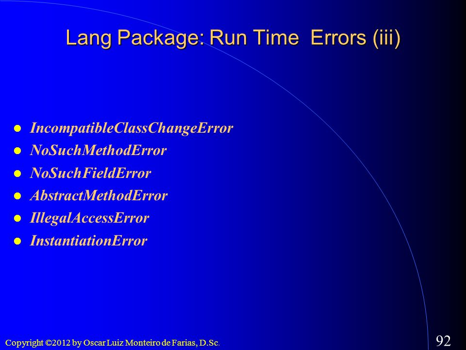 Lang Package: Run Time Errors (iii)‏