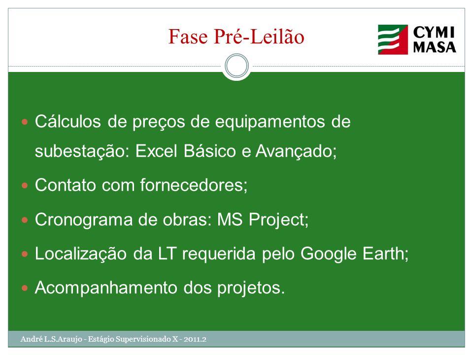 Fase Pré-LeilãoCálculos de preços de equipamentos de subestação: Excel Básico e Avançado; Contato com fornecedores;