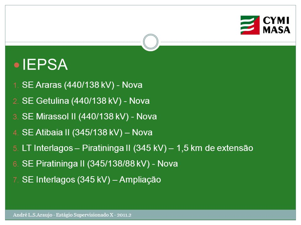 IEPSA SE Araras (440/138 kV) - Nova SE Getulina (440/138 kV) - Nova