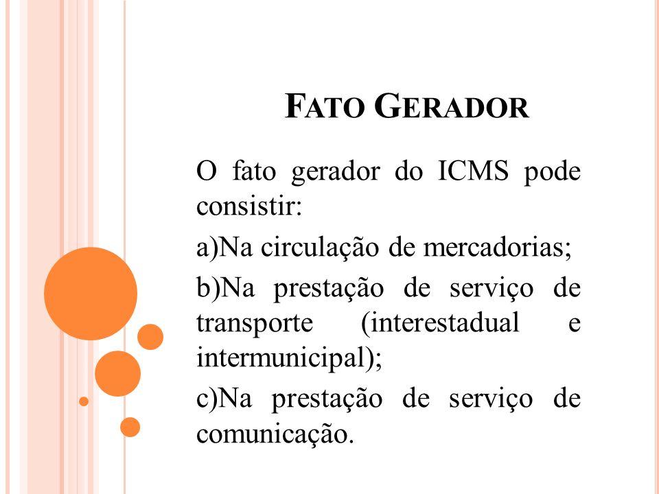 Fato Gerador O fato gerador do ICMS pode consistir: