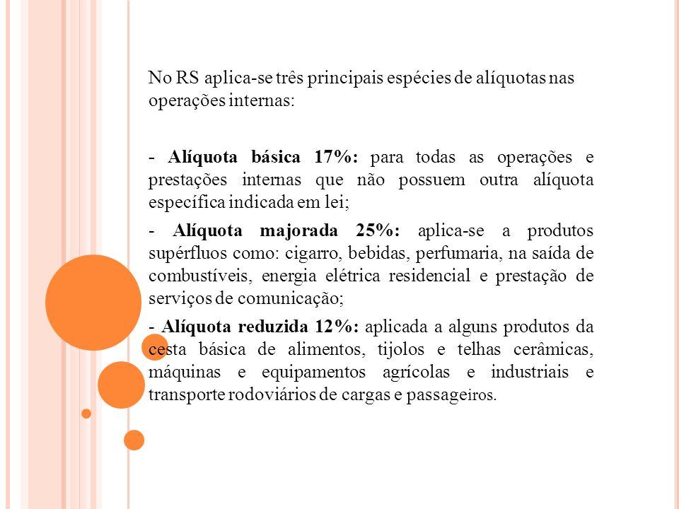 No RS aplica-se três principais espécies de alíquotas nas operações internas: