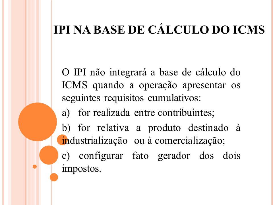 IPI NA BASE DE CÁLCULO DO ICMS