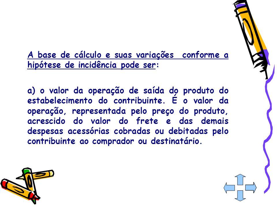 A base de cálculo e suas variações conforme a hipótese de incidência pode ser: