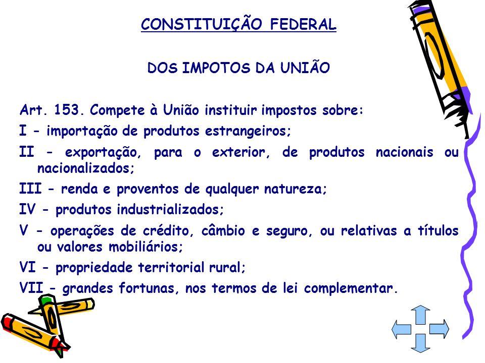 CONSTITUIÇÃO FEDERAL DOS IMPOTOS DA UNIÃO