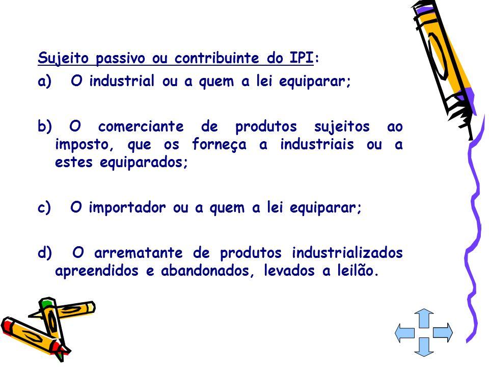 Sujeito passivo ou contribuinte do IPI: