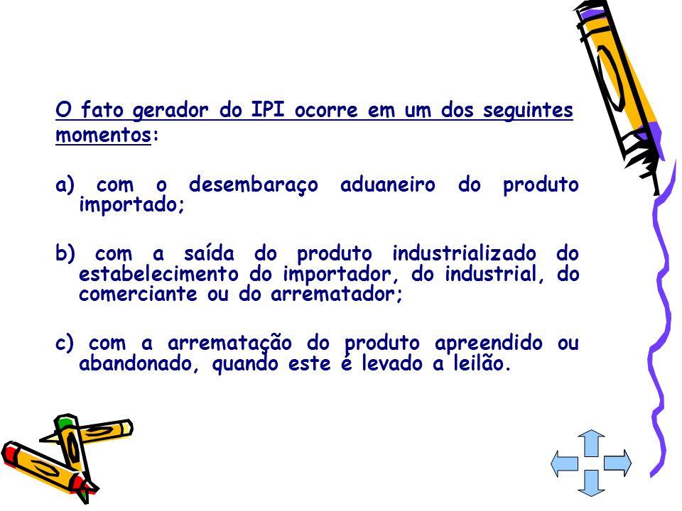 O fato gerador do IPI ocorre em um dos seguintes