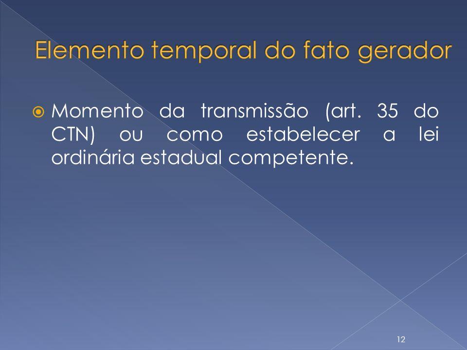 Elemento temporal do fato gerador