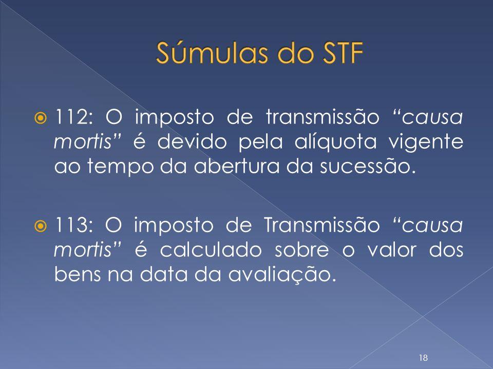 Súmulas do STF 112: O imposto de transmissão causa mortis é devido pela alíquota vigente ao tempo da abertura da sucessão.
