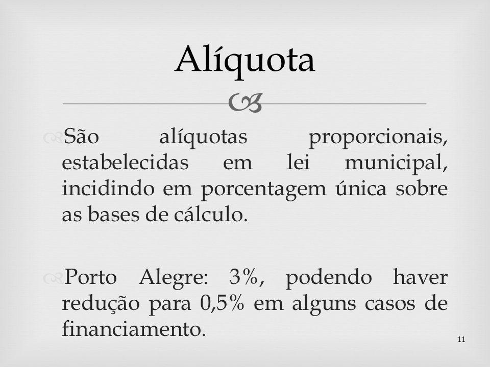 AlíquotaSão alíquotas proporcionais, estabelecidas em lei municipal, incidindo em porcentagem única sobre as bases de cálculo.