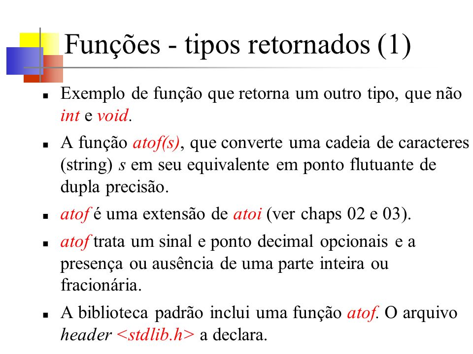 Funções - tipos retornados (1)