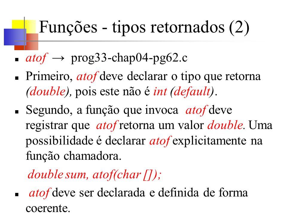 Funções - tipos retornados (2)