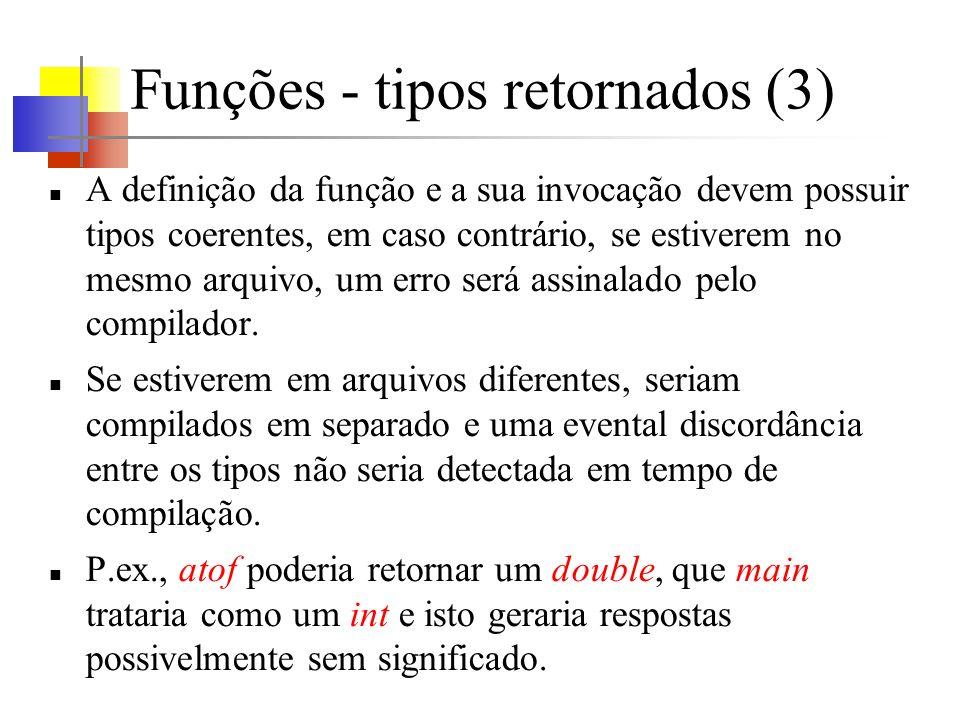 Funções - tipos retornados (3)