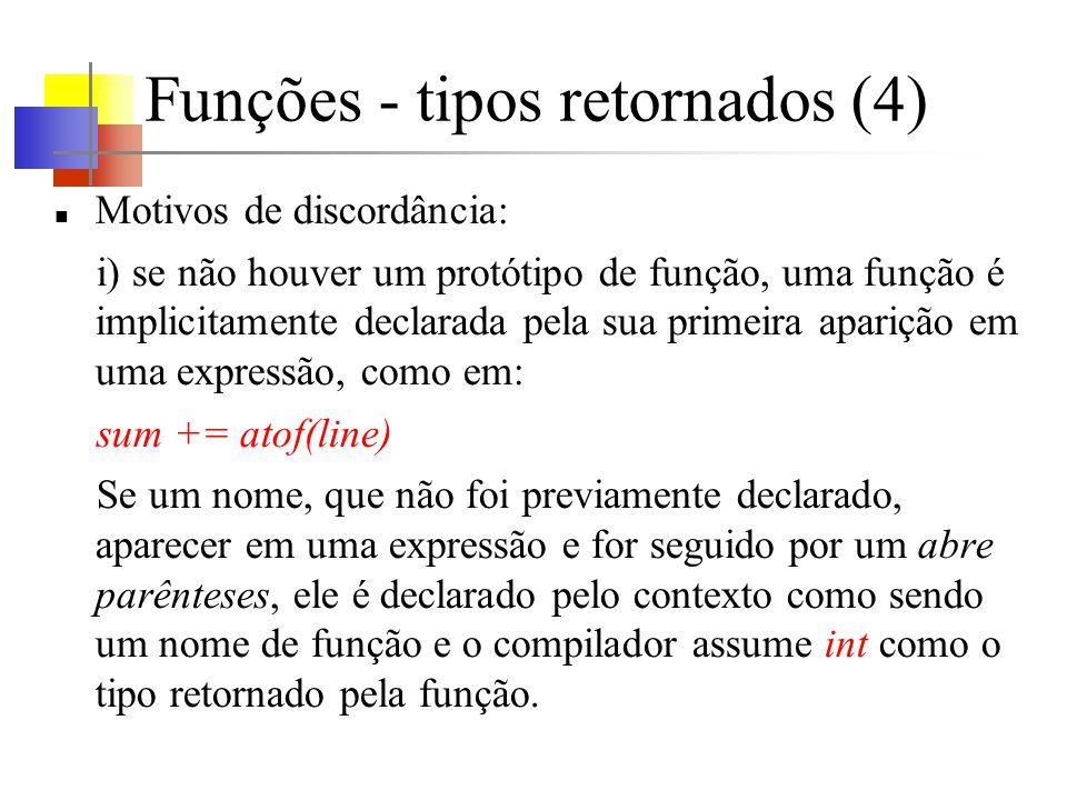 Funções - tipos retornados (4)