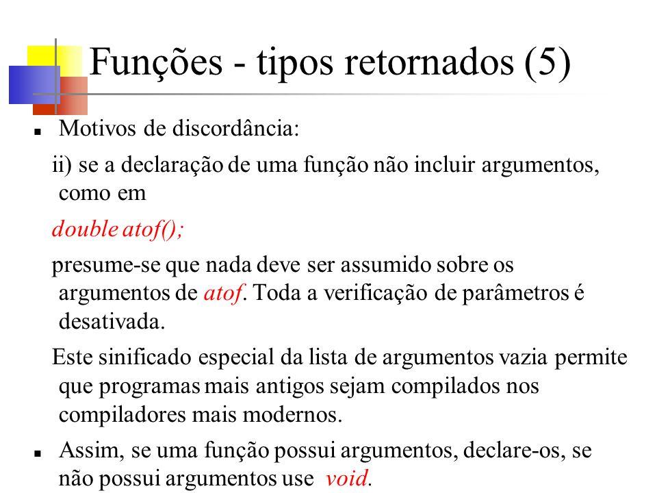 Funções - tipos retornados (5)