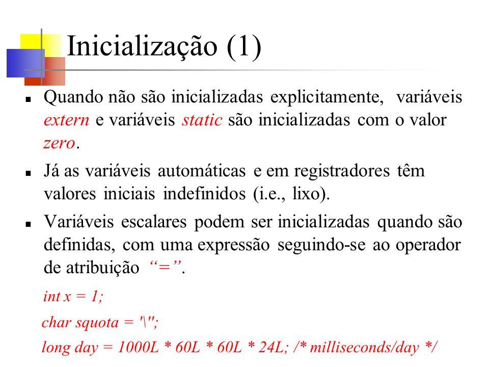 Inicialização (1) Quando não são inicializadas explicitamente, variáveis extern e variáveis static são inicializadas com o valor zero.