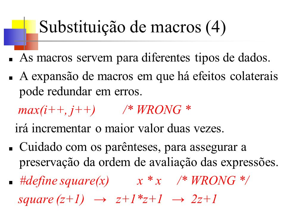 Substituição de macros (4)