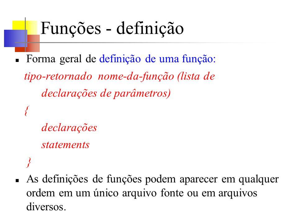 Funções - definição Forma geral de definição de uma função: