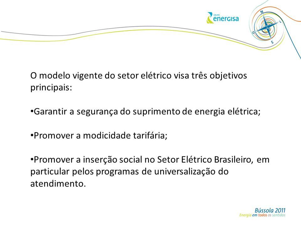 O modelo vigente do setor elétrico visa três objetivos principais: