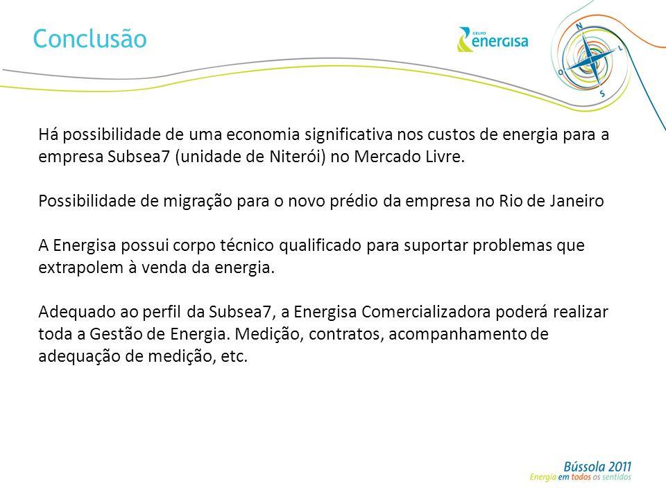 Conclusão Há possibilidade de uma economia significativa nos custos de energia para a empresa Subsea7 (unidade de Niterói) no Mercado Livre.