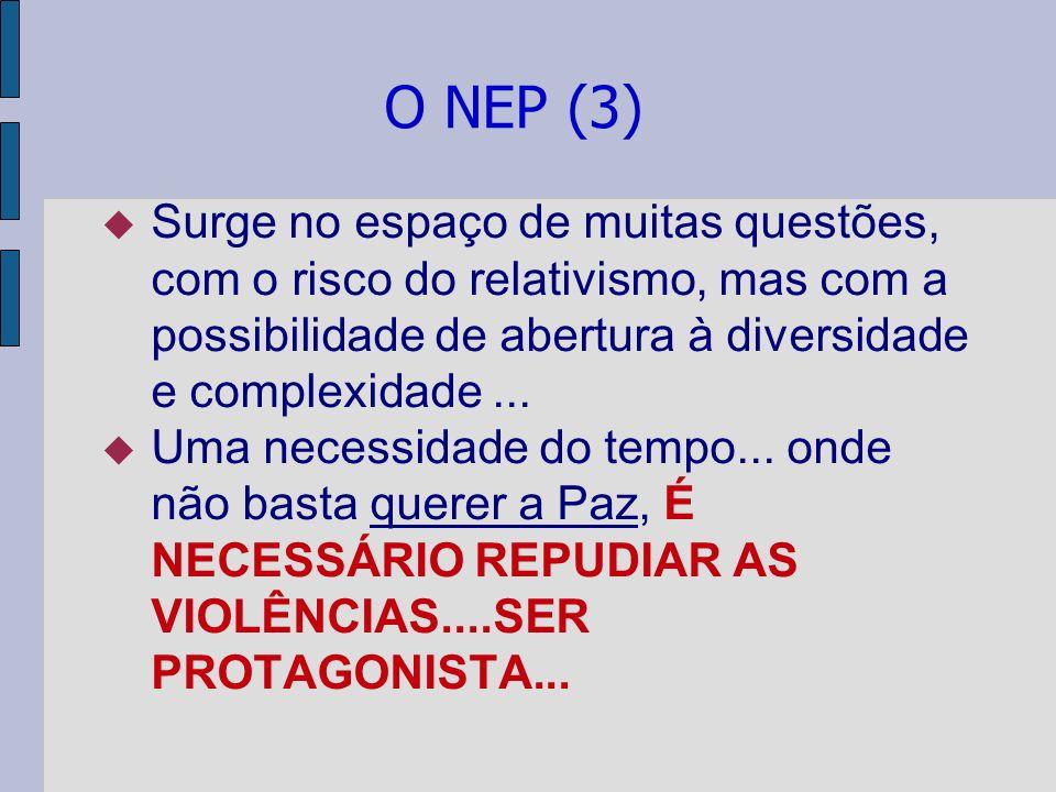 O NEP (3) Surge no espaço de muitas questões, com o risco do relativismo, mas com a possibilidade de abertura à diversidade e complexidade ...