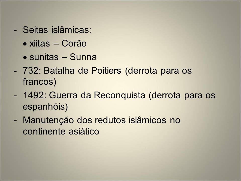 Seitas islâmicas:  xiitas – Corão.  sunitas – Sunna. 732: Batalha de Poitiers (derrota para os francos)