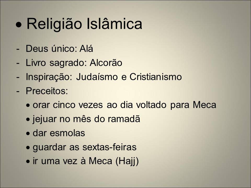  Religião Islâmica Deus único: Alá Livro sagrado: Alcorão