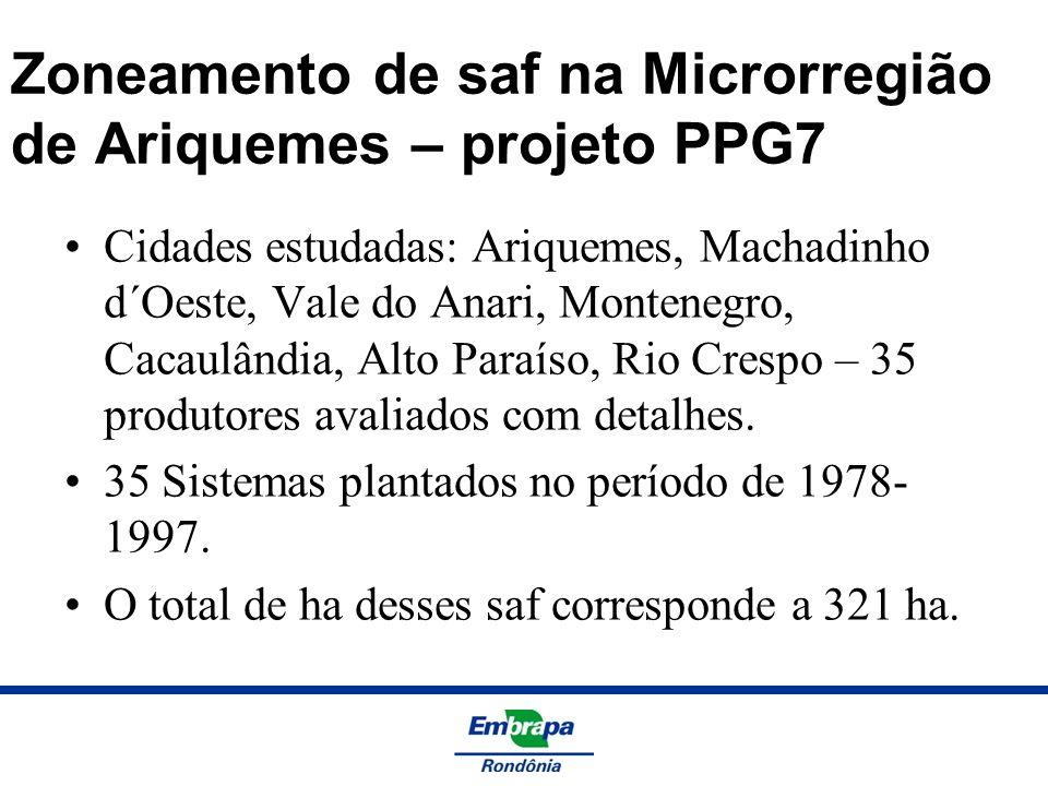 Zoneamento de saf na Microrregião de Ariquemes – projeto PPG7