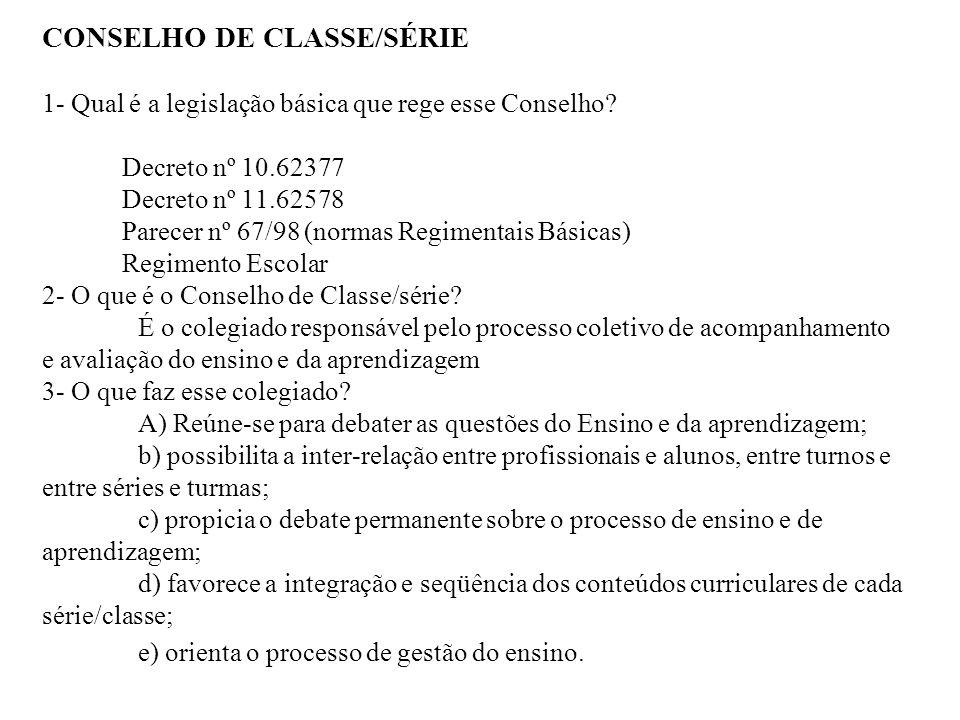 CONSELHO DE CLASSE/SÉRIE 1- Qual é a legislação básica que rege esse Conselho.