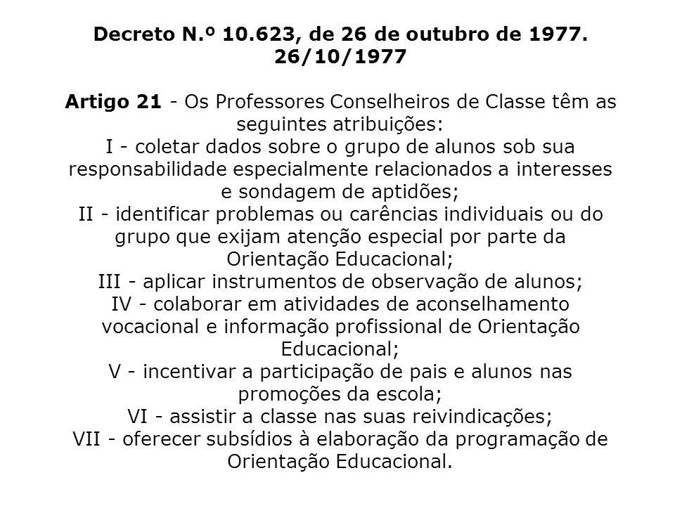 Decreto N. º 10. 623, de 26 de outubro de 1977